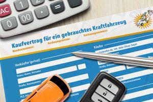 Kaufvertrag Auto KFZ mit Hand Unterschrift